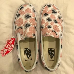 California Poppy Floral Vans Women's size 8.5